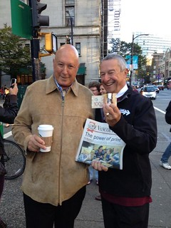 Minister Fassbender sells $100 newspaper!