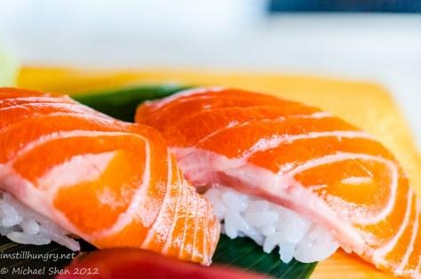 Sushi E salmon belly nigiri