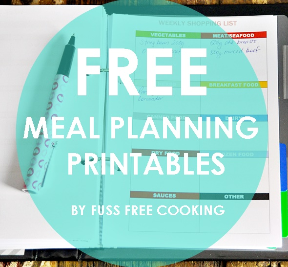 Recreation  Organised Free Printables on Meal Planning  Grocery