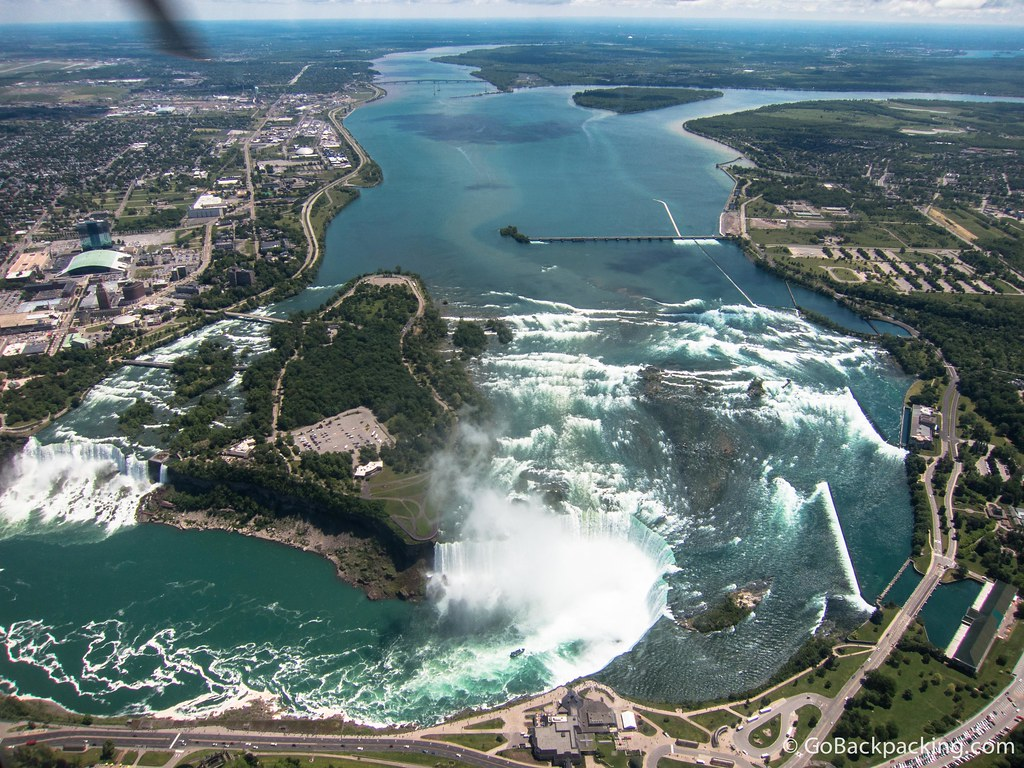 Approaching Niagara Falls by helicopter