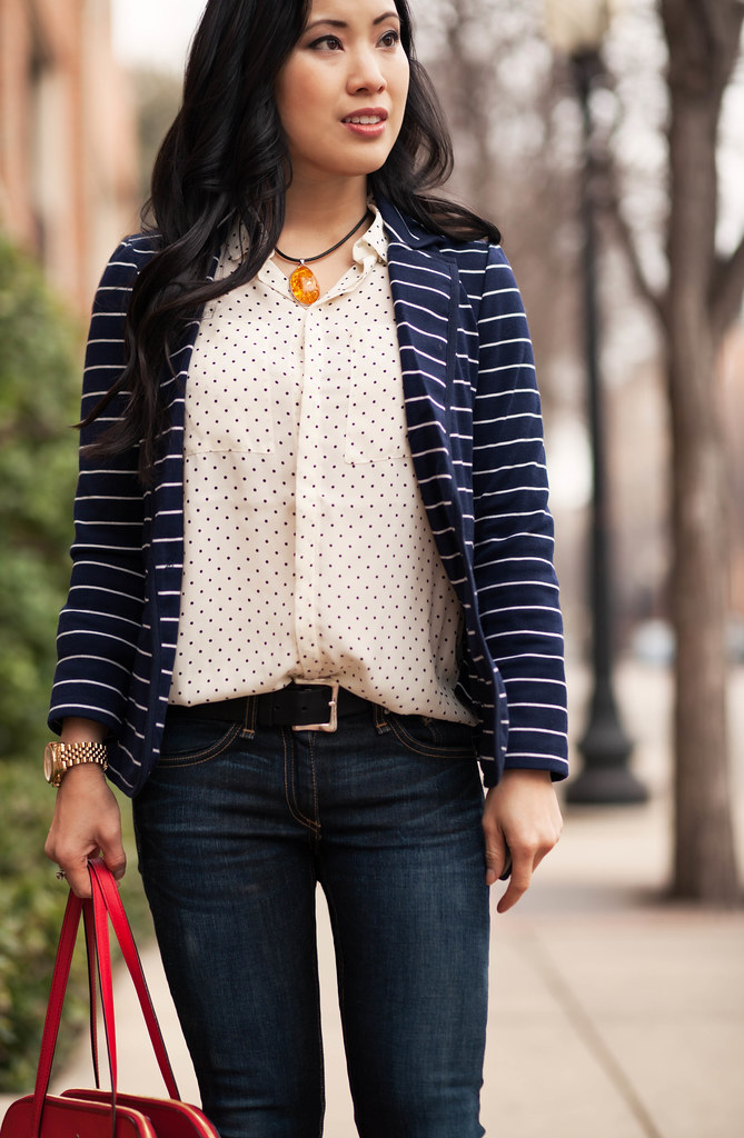 Navy Stripes + Polka Dots - cute  little Dallas Petite Fashion - stripes with polka dots