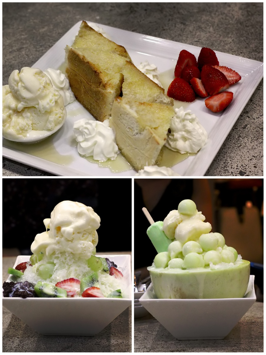 Clockwise from top: Honey Toast, Melon Bing Soo, Shaved Ice with Fruit, Kanzi Fashion Cafe Kanzi Fashion Cafe on Urbanspoon