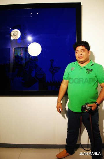Aris Bagtas, a notable painter whose works include paintings of church murals, presented his mixed-media artwork called