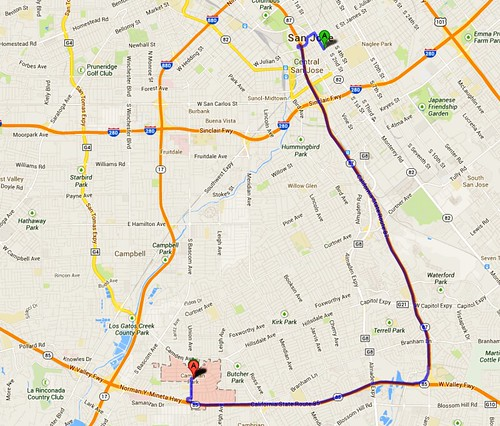 11 miles Cambrian to downtown San Jose