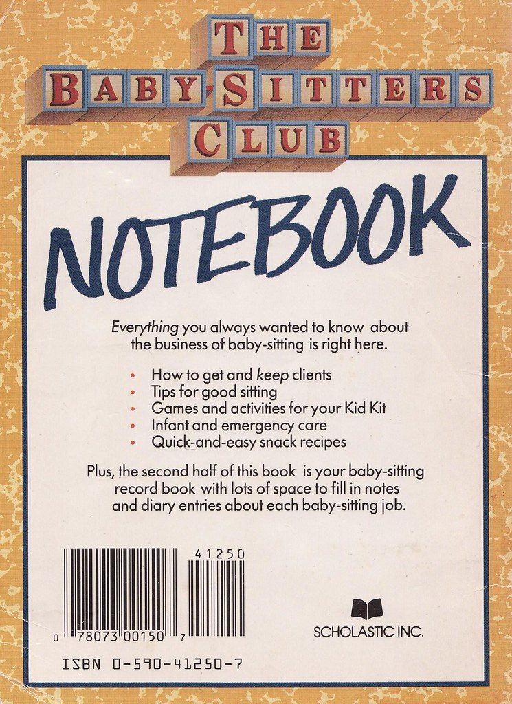 Baby-Sitters Club Notebook, 1987 Back cover of \