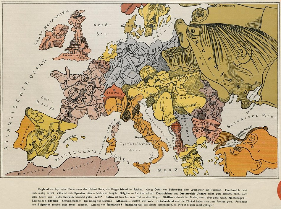 Cartoon Map of Europe in 1914 \u2013 The Public Domain Review