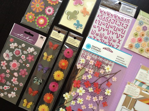 scrapbooking page supplies and stickers