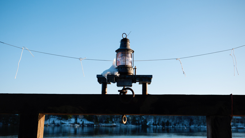 Snowy Maine Dock Light