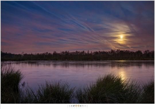 Lichtvervuiling, condensstrepen, bewolking en het maanlicht in de ochtendschemering