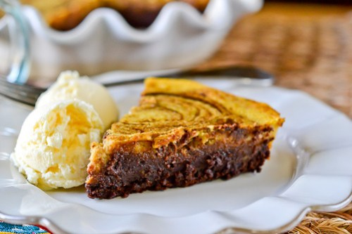 Pumpkin-Brownie Swirl Pie-13