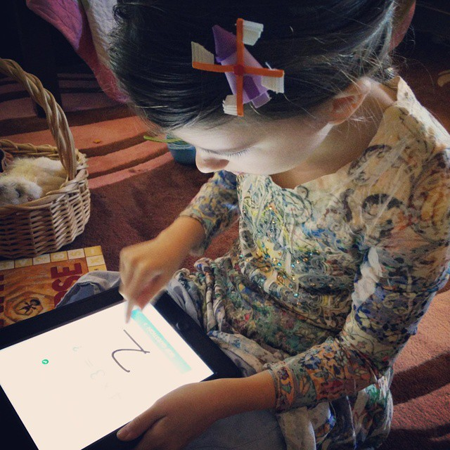 Doing math drills on the iPad for fun! #homeschool