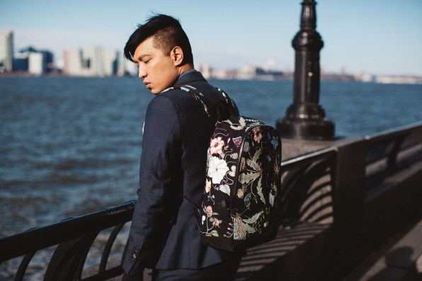 Kris Knight floral canvas Gucci backpack worn by fashion blogger Bryanboy