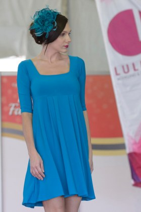 Empire Dress with Square Neckline and Sleeves | Sapphire