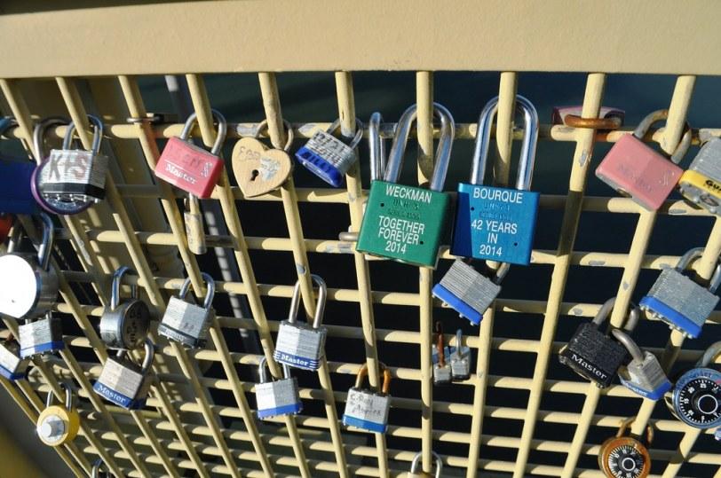 Love Locks on Roberto Clemente Bridge, Pittsburgh, Pa., Feb. 12, 2015