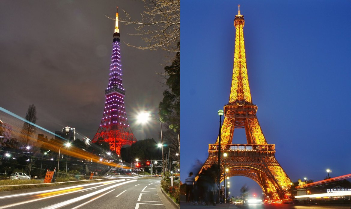 The Eiffel Tower And Tokyo Tower Falling In Love With