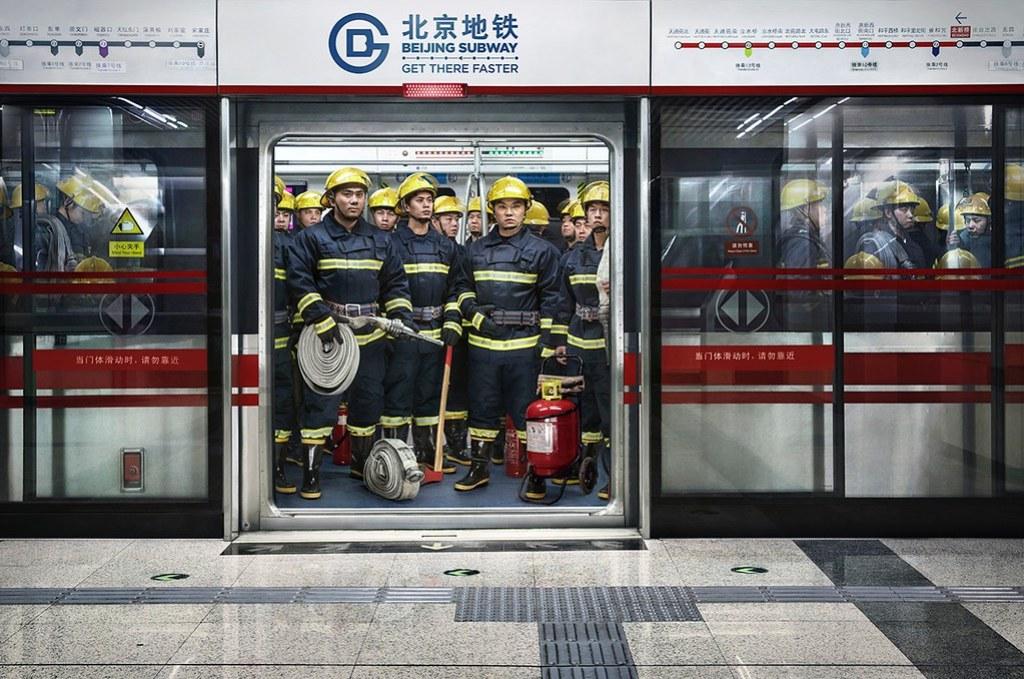 Beijing Subway - Firemen