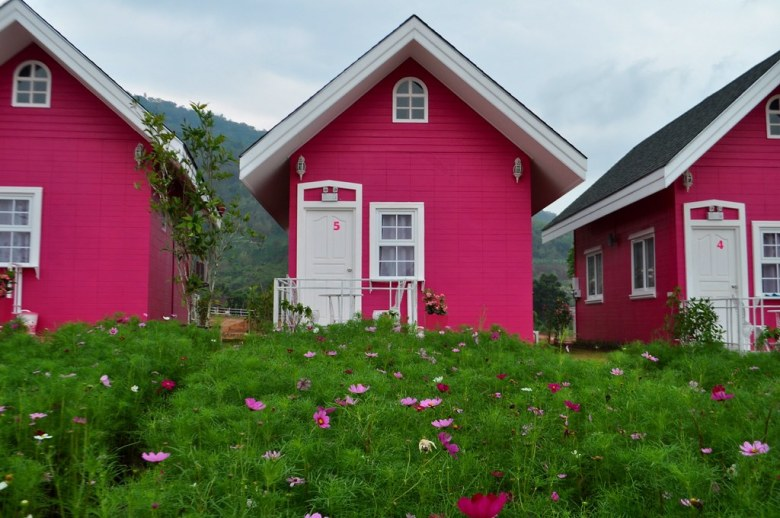 Bright Pink Cottages at the Kitty Resort in Loei Province of Thailand, March 2015.