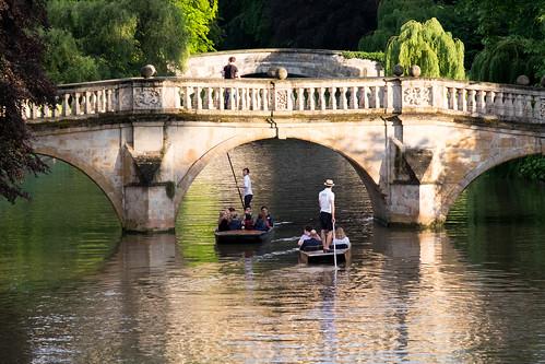 Punting under the Clare College bridge