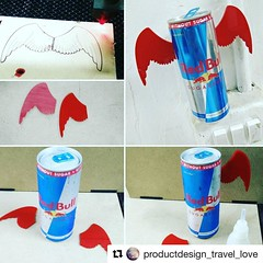 """#Repost @productdesign_travel_love  Laser cut wings for Redbull ・・・ """" Red bull gives you wings"""" & this is how wings are given to red bull! #lasercut #laserengrave #acrylic #red #superglue #redbull #sugarfree #can #wings #soapboxrace #energydrink #training"""
