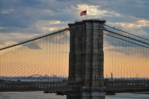 Brooklyn Bridge and the Statue of Liberty