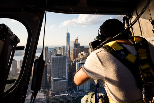 Shooting the Manhattan skyline from a helicopter