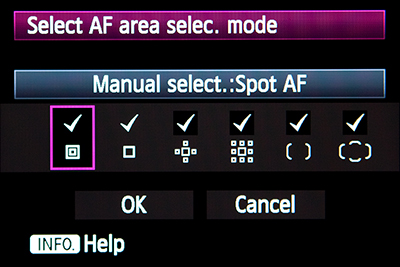 canon 5d mark III mk 3 autofocus auto focus af point zone 61 af area selection mode