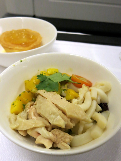 Philippine Airlines Business Class meal Mnl-Hkg-Mnl- Asian squid salad, papaya salsa & salad greens