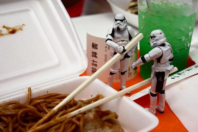 Eating yakisoba