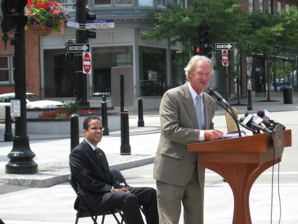 Governor Chafee accepting his award