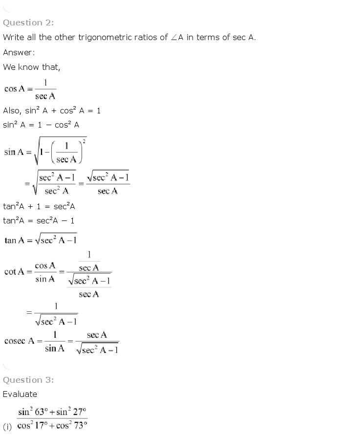 NCERT Solutions for Class 10th Maths Chapter 8 - Introduction to Trigonometry