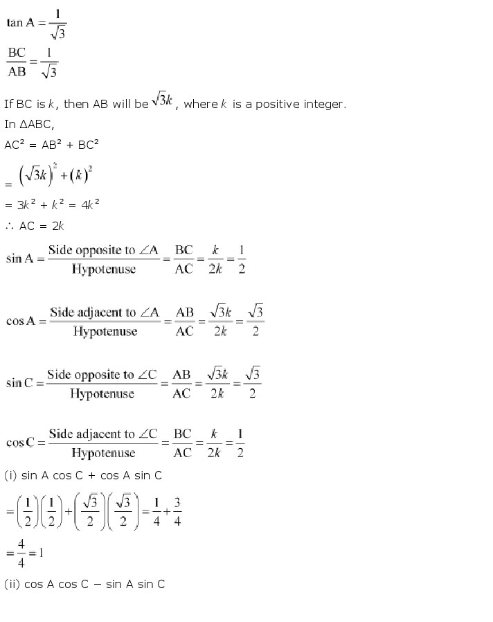 NCERT Solutions for Class 10th Maths: Chapter 8   Introduction to Trigonometry  Image by AglaSem