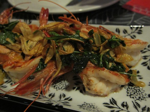 Prawns with chili & basil