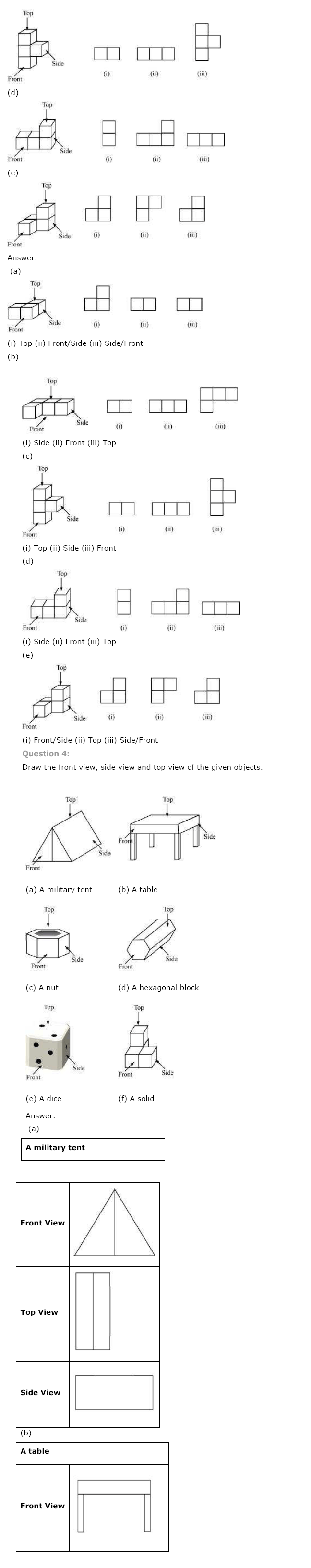 NCERT Solutions for Class 8th Maths Chapter 10 Visualising Solid Shapes