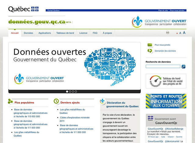 Science Library Pad Province of Quebec open data portal and IT