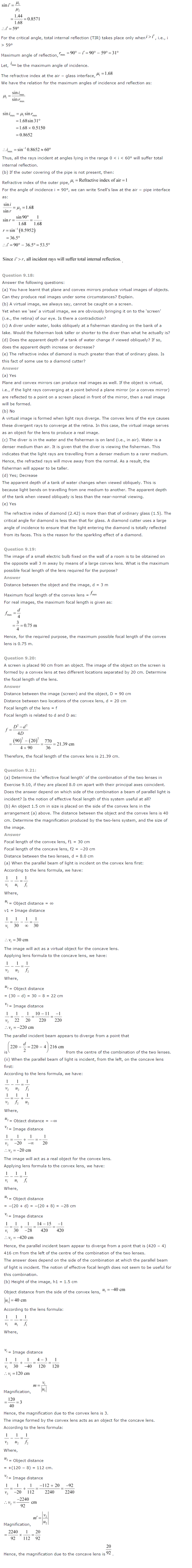 NCERT Solutions for Class 12th Physics Chapter 9   Ray Optics And Optical Instruments