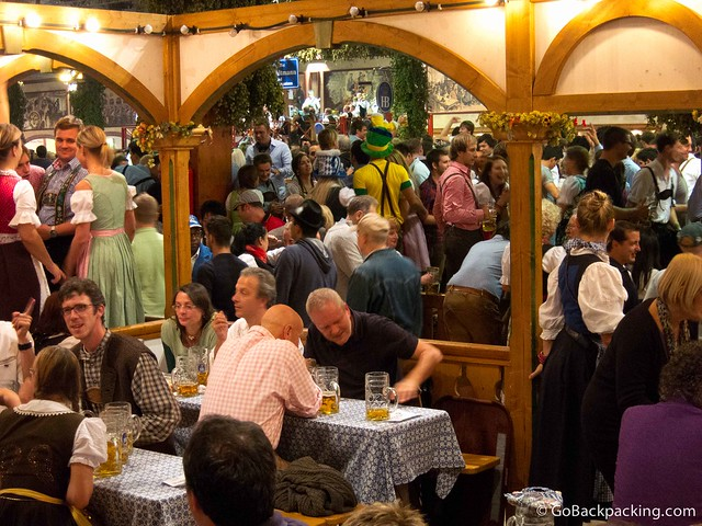 Atmosphere inside the Hofbräu-Festzelt tent on a Sunday evening