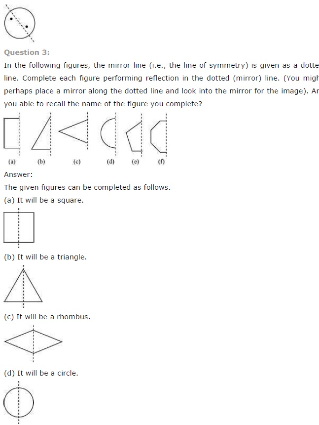 NCERT Solutions for Class 7th Maths Chapter 14   Symmetry