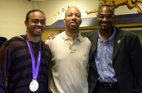 Aries Merritt, Wheeler's Coach Greg Mitchell, and Kevin Young (left to right)