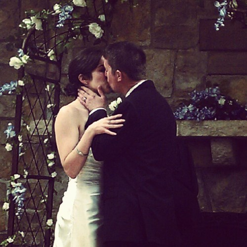 Kiss the bride. The new Mr. and Mrs. Harlow