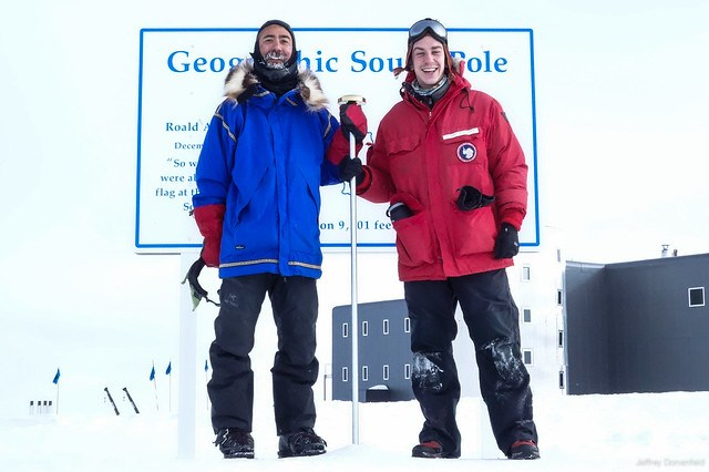 2013-01-23 Aaron Linsdau and Jeffrey Donenfeld at the South Pole