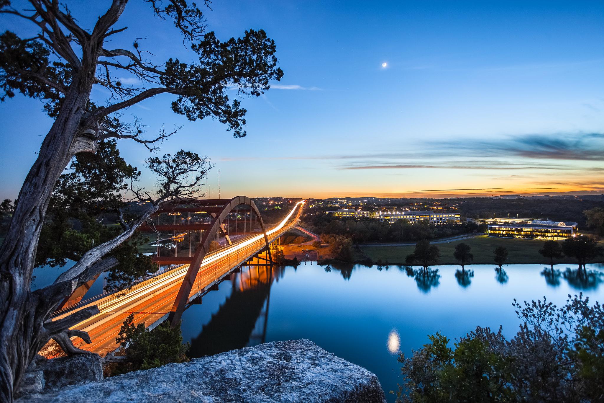 Cute Artsy Wallpapers Pennybacker Bridge Sunset Austin Texas Oc 2048x1365