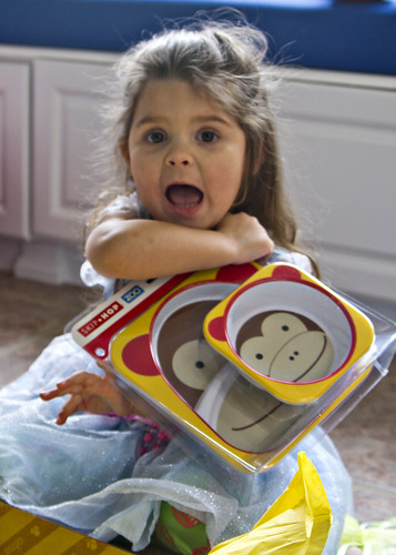 showing off her monkey plates