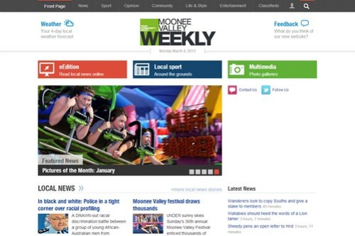 Current version of the 'Moonee Valley Weekly' homepage