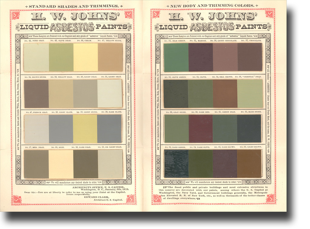 1882 HW Johns Asbestos Paint Sample Bi-fold Brochure (in\u2026 Flickr