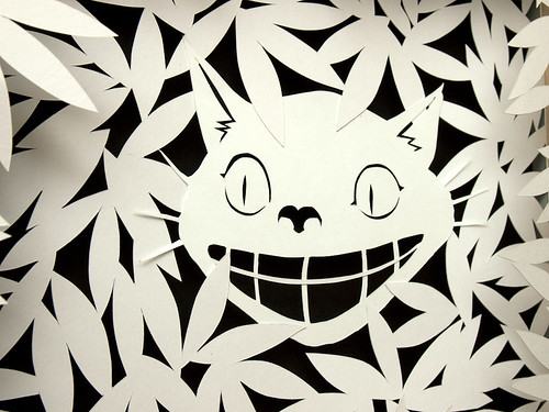 Paper cut work: Cheshire Cat - detail