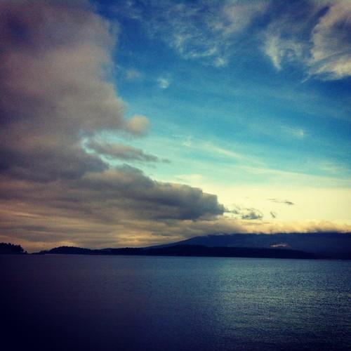 Half clouds, and half blue sky