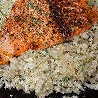 Pan Fried Salmon over Riced Cauliflower