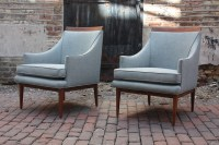Pristine Pair! Beautiful Mid Century Modern Slope Armed ...
