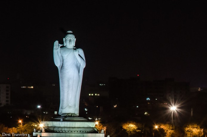 18 meter tall Buddha statue in Hussain Sagar Hyderabad