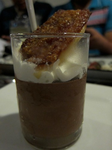 Banana with candied bacon & chocolate mousse